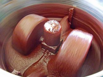 Grinding cacao beans into chocolate