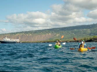 Kayaking near Safari Explorer, Big Island - UnCruise Adventures