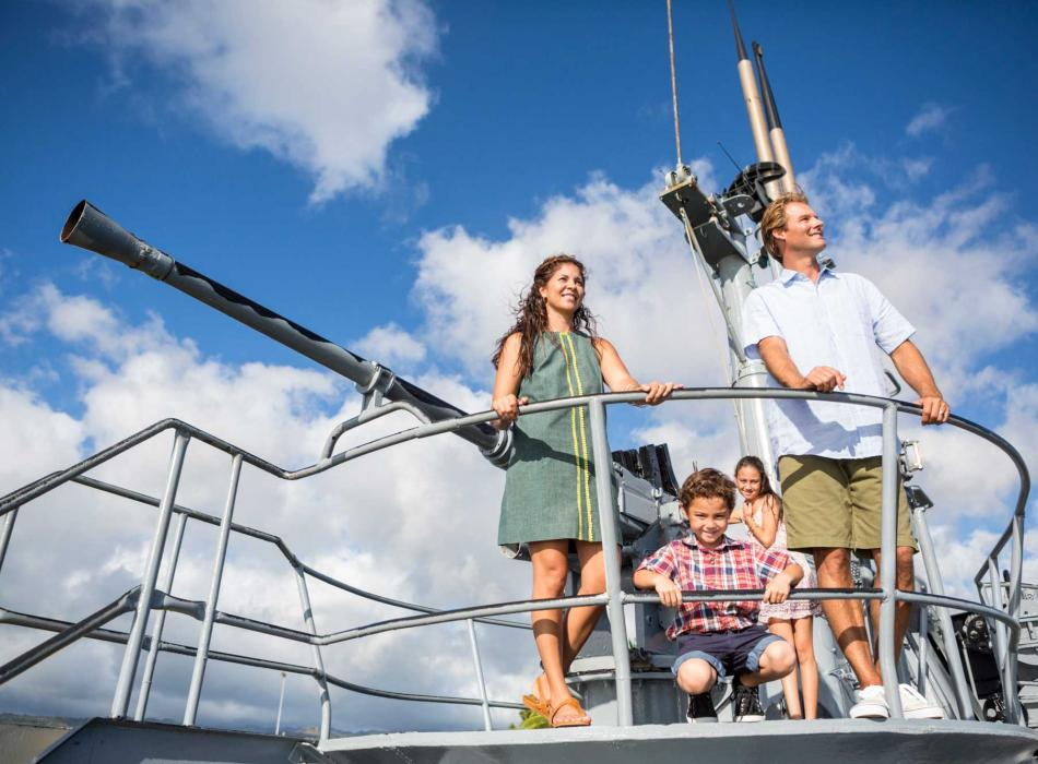 A family visiting the Pearl Harbor Historic Sites