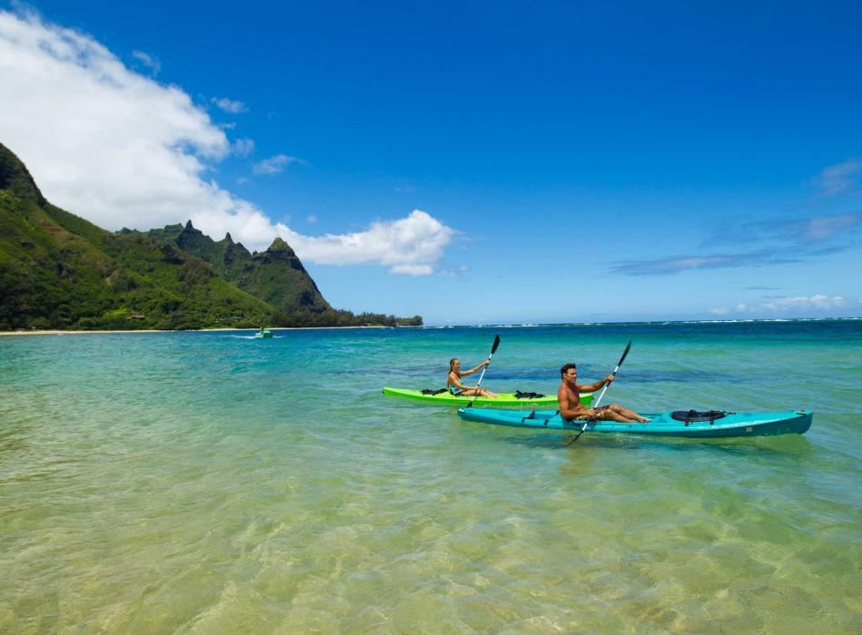 Kayaking on the beaches of Kauai